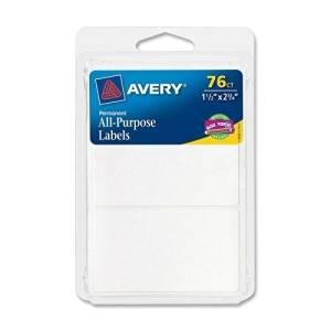 "Avery All-Purpose Labels,Permanent,1-1/2""x2-3/4"",75/PK,White (6117)"