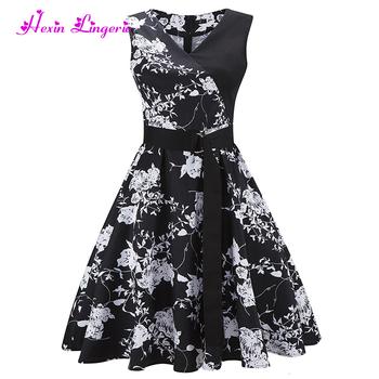 9e86a4e72b66 Latest popular black and white floral korean casual floral women dress 2017