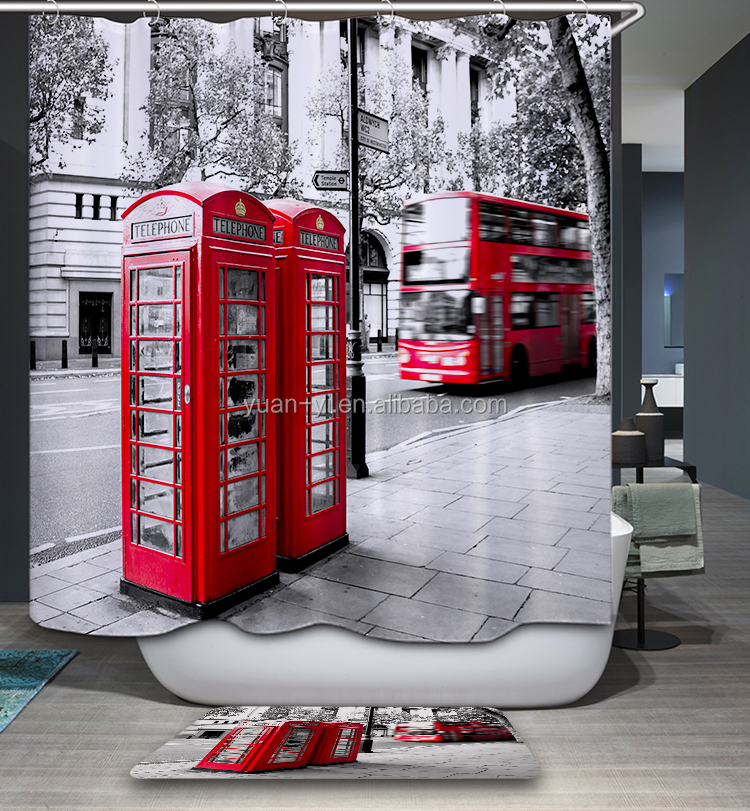 bathroom shower waterproof curtain telephone booth beside the avenue