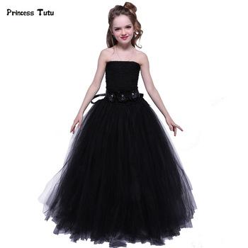 72aab9effc411ce Новинка Платье для девочек из тюля черное платье-пачка для маленьких детей  вечерние бальное платье