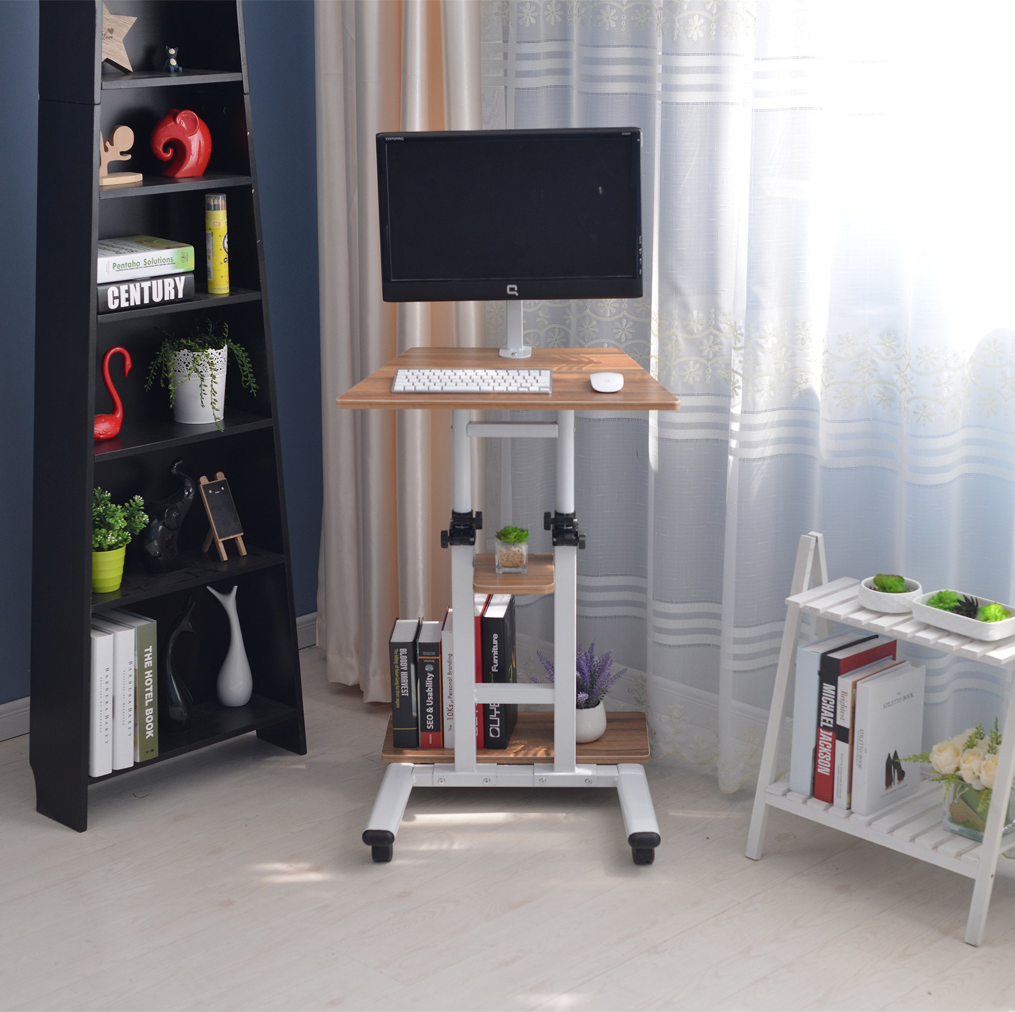 Buy Unicoo Mobile Adjustable Height Stand Up Desk Computer Workstation Cart With Monitor Mount Ancient Oak Xg In Cheap Price On Alibaba Com