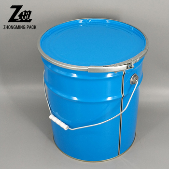 10 Liter Paint Pail With Lug Lid And Metal Handle White Painted Bucket