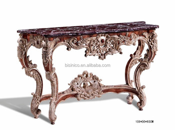 Gorgeous Hand Carved Marble Top Console Table/Side Table, Marquetry  Furniture Corner Table (