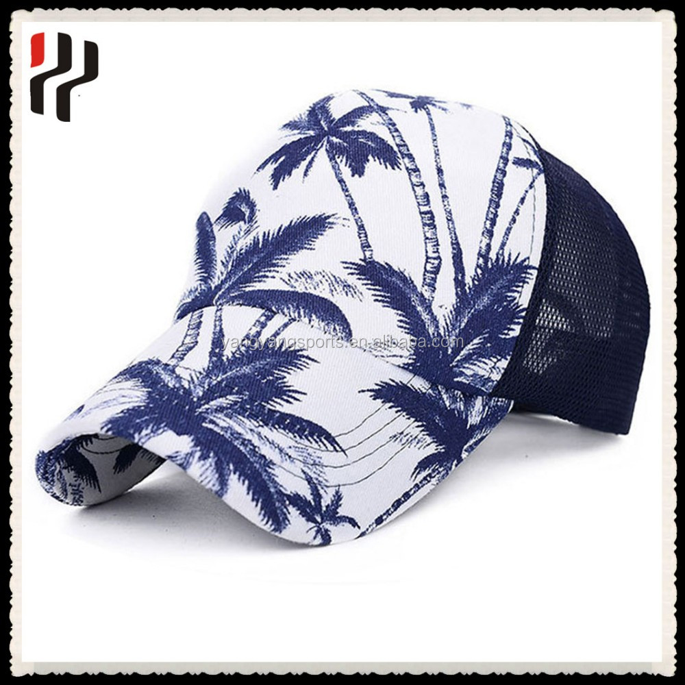 Summer sun street hat printed mesh cap 5 panel sports trucker cap