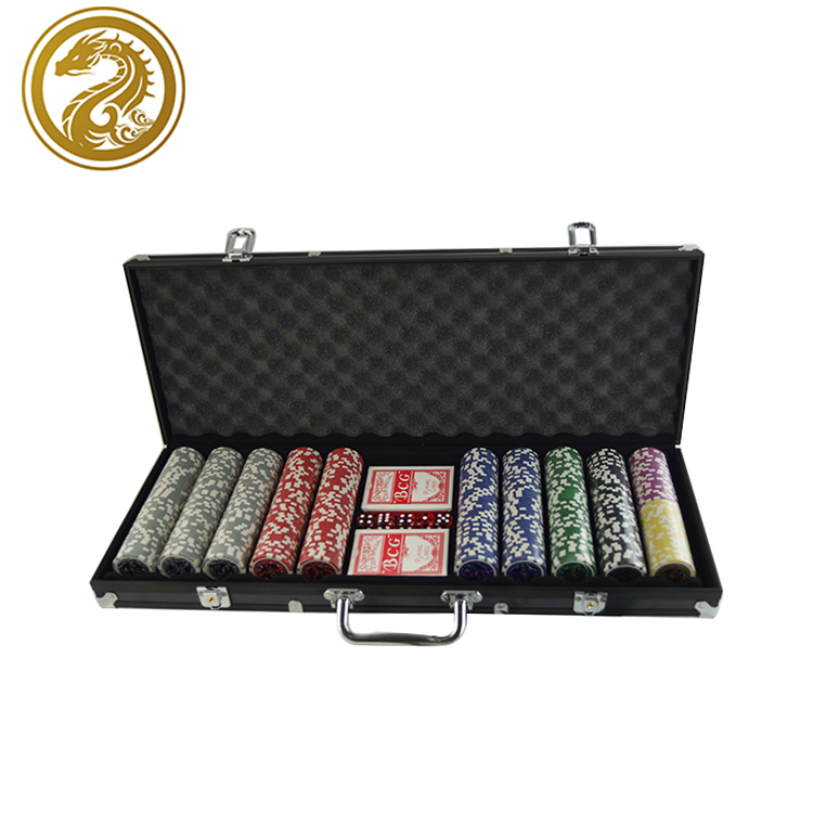 Chip + speelkaarten + dobbelstenen + dealer + aluminium case fabriek plastic 11.5g poker chip 500 pcs gokken set
