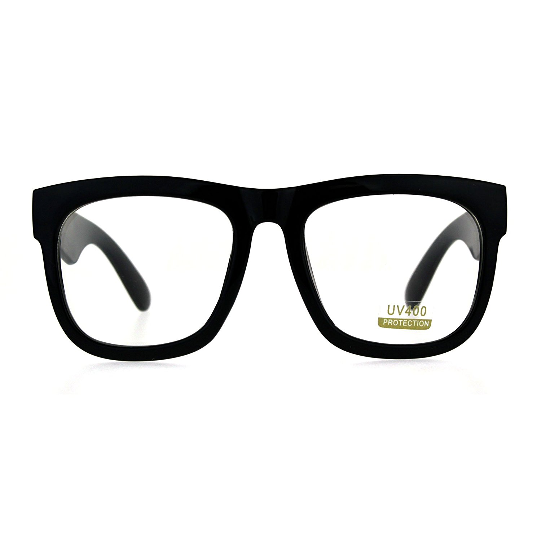 3f0e588326 Get Quotations · Mens Thick Plastic Horn Rim Rectangular Geek Eye Glasses
