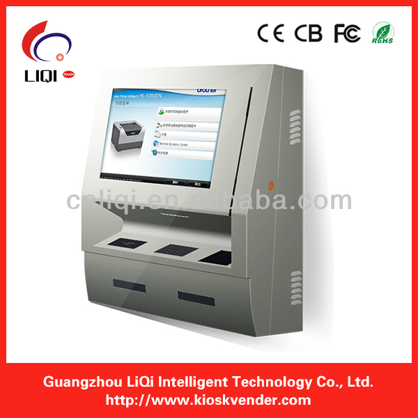 touch screen payment wall mounted kiosk with telephone
