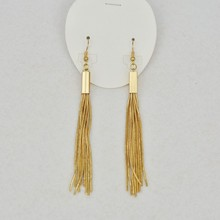 2017 high good quality fashion casual popular jewelry handmade 18k gold plated tassel hook earrings women accessories