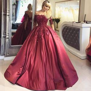 ZH3081G Luxurious Satin Long Sleeve Prom Dresses Wine Red Beaded Ball Gown Evening Dresses Lace Up Back Special Occasion Dresses