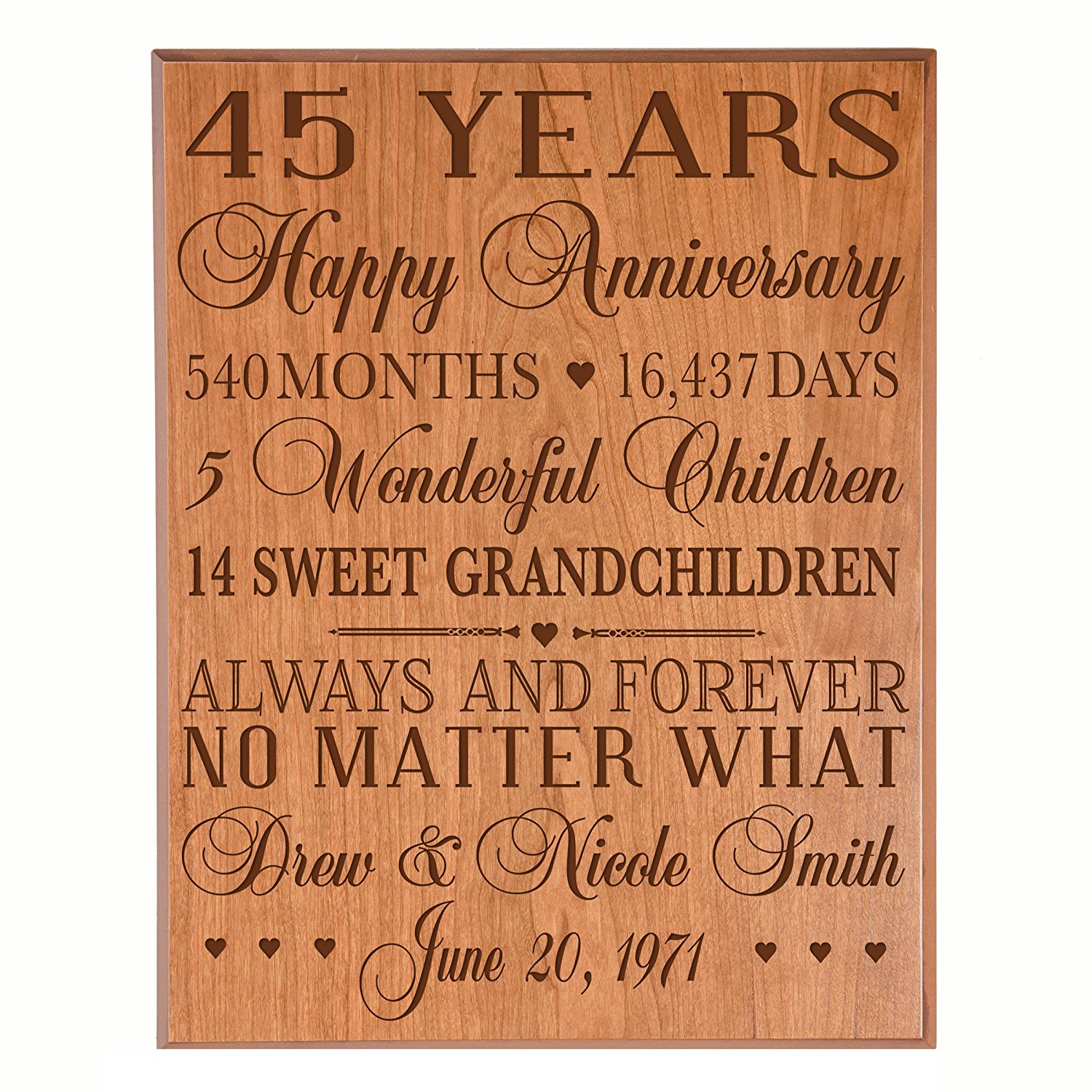 """Personalized 45th Anniversary Gifts for him her Couple parents, Custom Made 45 year Anniversary Gifts ideas Wall Plaque 12"""" x 15"""" By Dayspring Milestones (Cherry Veneer Wood)"""