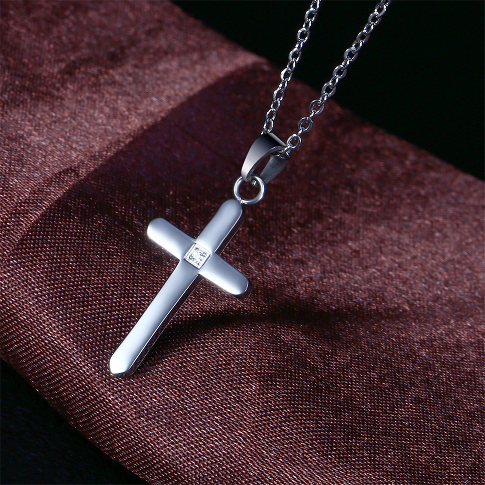 Stainless steel women gold cross pendant zircon stone necklace jewelry set