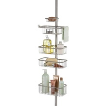 Tension Pole Douche Corner Caddy In <span class=keywords><strong>Teak</strong></span>/<span class=keywords><strong>Olie</strong></span> Gewreven Brons