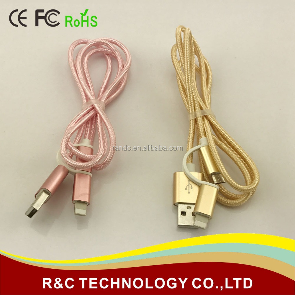 Multi-functional Braided Cable, 2-in-1 Light ning + Micro USB Port for iPhone iPad iPod Samsung