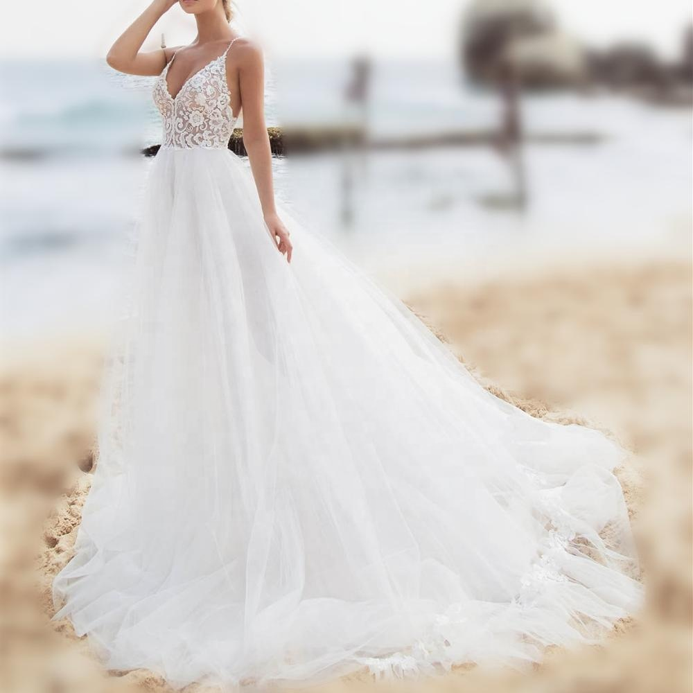 Customized a line v neck ruffle wedding dress bridal gown for beach sleeveless