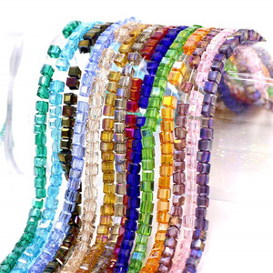 Wholesale Crystals Beading Faceted Square Shape 4mm Cube Crystal Glass Beads