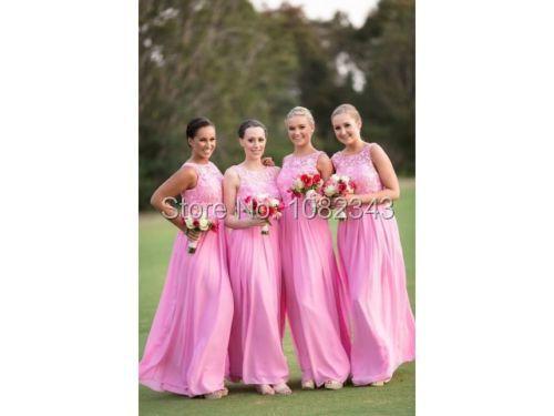 3de8ba0cfc324 Get Quotations · Vestidos De Para Chiffon Lace A Line Bridesmaid Dresses  With Straps 2015 Sleeveless Scoop Floor Length