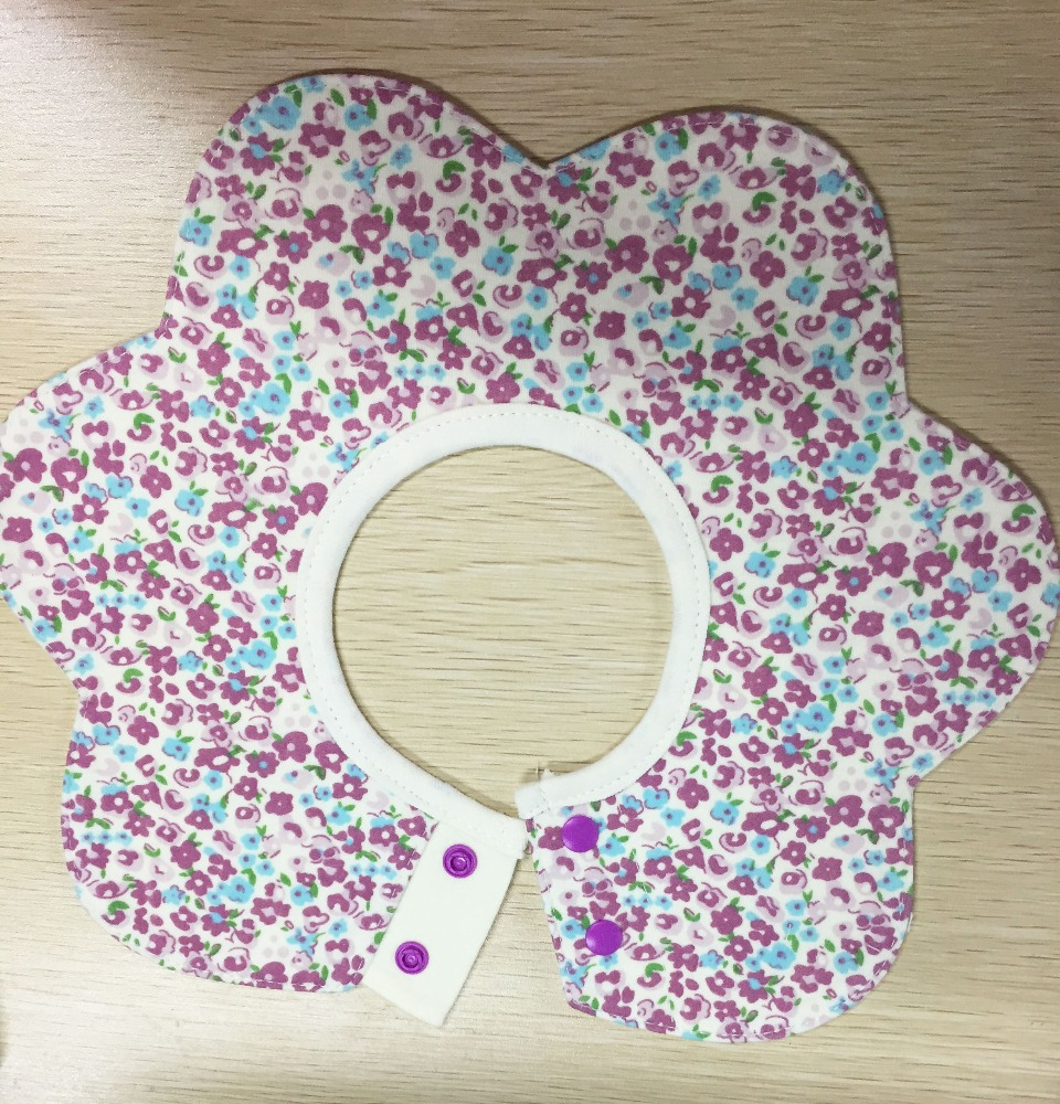 high quality fancy cute customized printed flower shape double layers 100%cotton knitted cloth infant baby bib