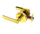 Tubular lever door handle lock keyed entry privacy bathroom bedroom storeroom door , brushed polished brass