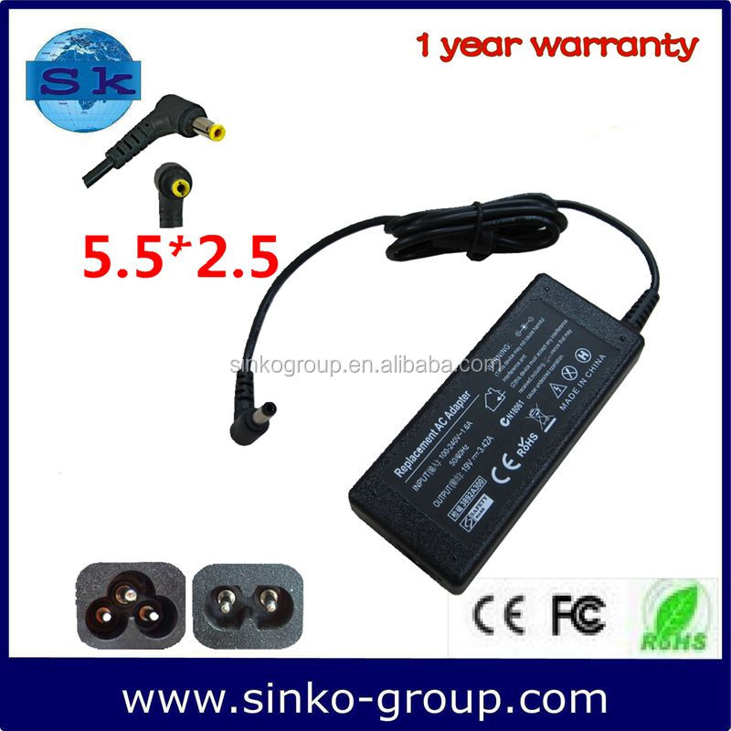 notebook parts different types of connectors For dell 65W 19V 3.42A with 5.5*2.5