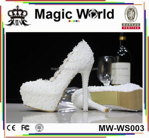 LACE PEARLS WOMEN WEDDING BRIDAL SHOES