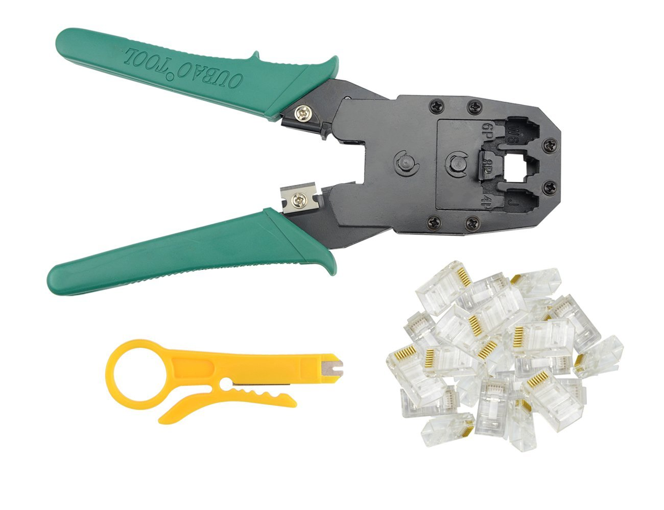 BXQINLENX Professional Multi-function Wire Crimper Telephone Tool Crimps Cable Wire Stripper Wire Crimper And Cuter For 8P8C RJ-45 6P6C RJ-11 RJ-22 4P4C (Crimper + 100PCS RJ45 8P8C CONNECTOR)
