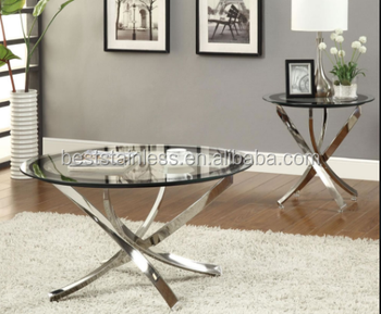 Hot Sales Series Glass Stainless Steel Coffee Table Set/Side Table/living  Room Furniture