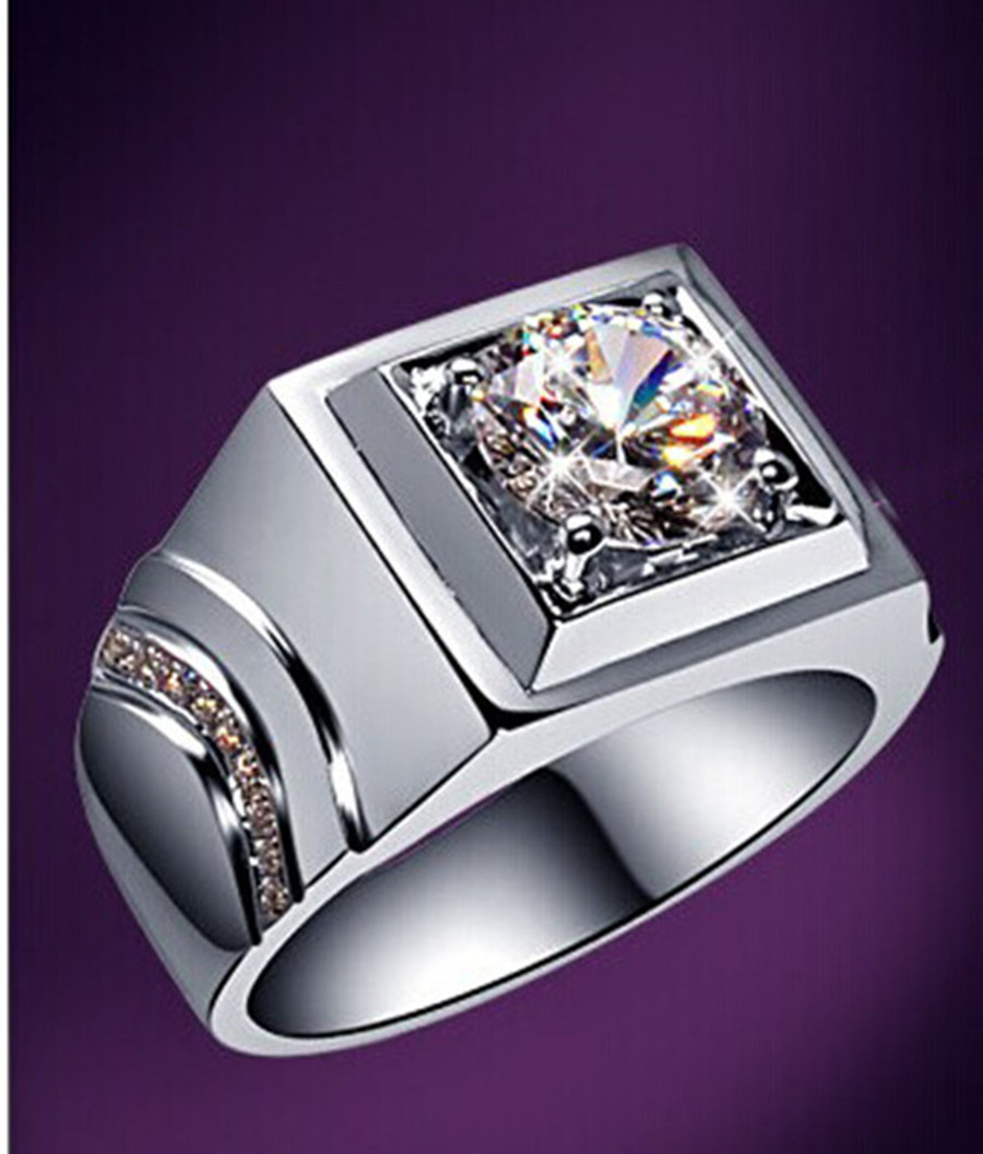 Generous Rings For Men Sterling Silver 1Carat Round