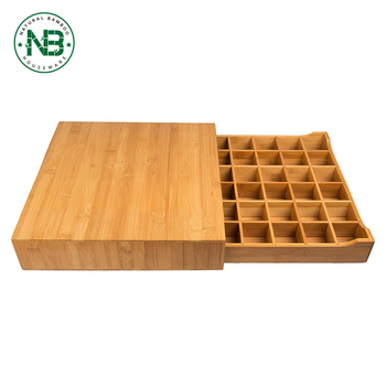 Bamboo Single Serve Coffee Pod Holder Storage Drawer