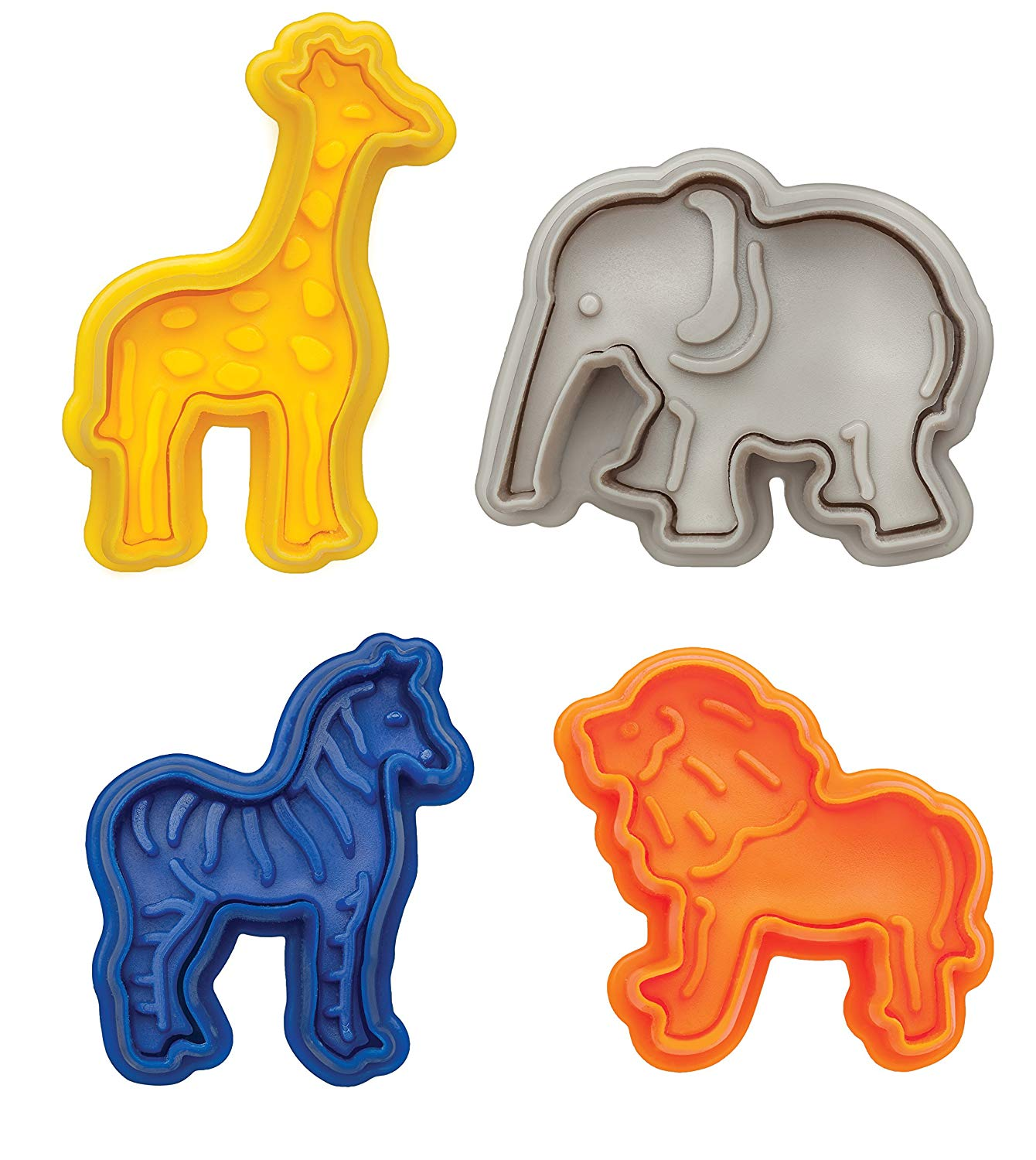 Set of 4 Plastic Animal Shapes Cookie Cutter Mold