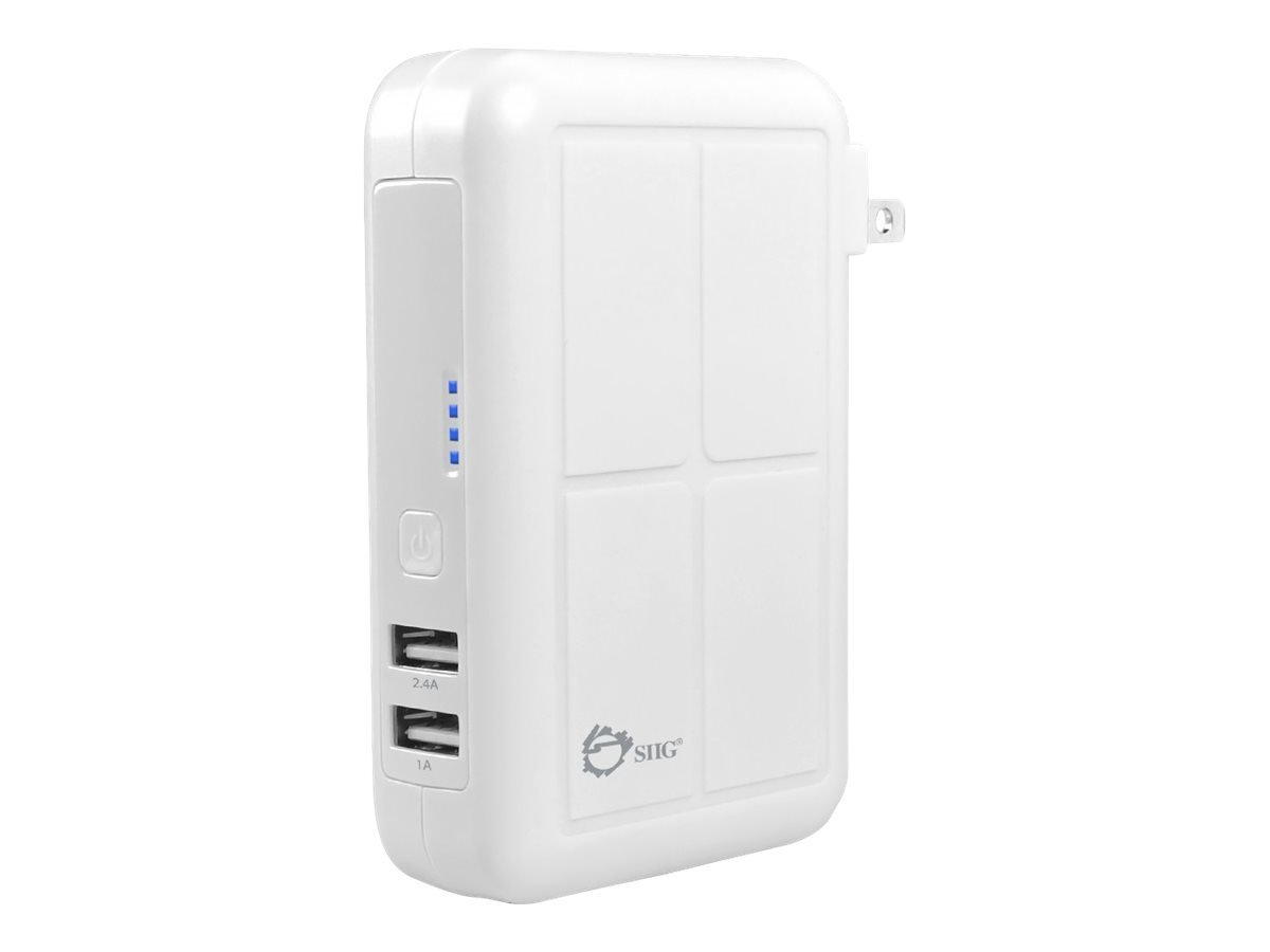 SIIG AC-PW0Y12-S1 3-in-1 600mAh Power Bank Charger - Wall Charger + Car Charger + Power Bank Fast-charging Combo, Simultaneously Charge 2 Devices and the Power Bank (White)