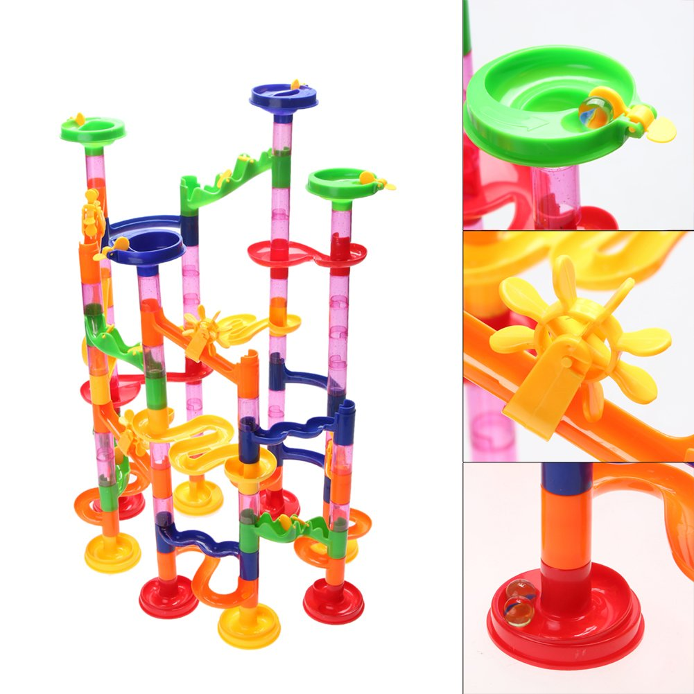 Marble Run, 113pcs Easycity Marble Genius Toy Race Coaster Set Marble Run Railway Toys Educational Construction Building Blocks Toy for Kids