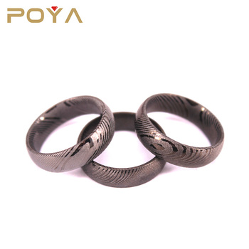 POYA Jewelry Black Plated 6mm & 8mm Damascus Steel Ring Dome Finished Ladies And Gentleman Engagement Wedding Bands