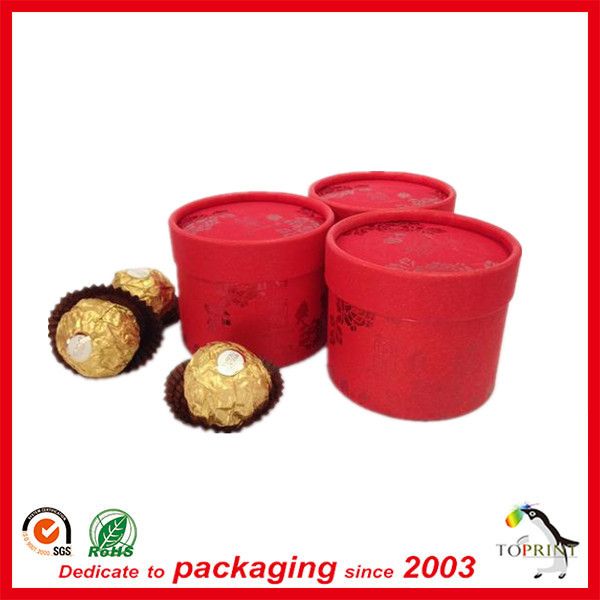 Recycle cylinder round paper packaging Boxes for chocolate candy