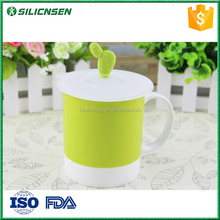 Newest design FDA approval cactus silicone cup lid, coffee cup lid, cup lid