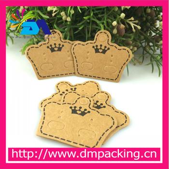 Stock Kraft Paper Earring Cards Tags Crown Shape Brown Jewelry Ear Studs Packaging Display