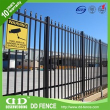 Custom Wrought Iron And Ornamental Metal Light Commercial Ornamental Steel Fence 2 Rail Flush Top Flush Bottom Iron Fence