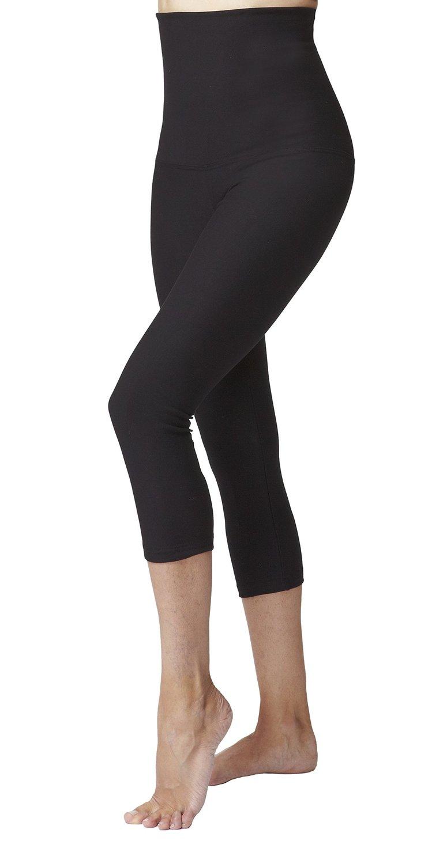 d76bad630e5230 Get Quotations · Tummy Control Slimming Shaping High Waist Yoga Capri Pant  Cropped Leggings Black