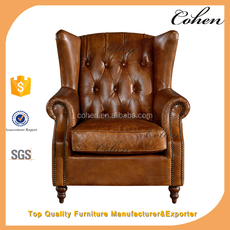 vintage top grain wing chair chesterfield leisure armchair for living room set C612