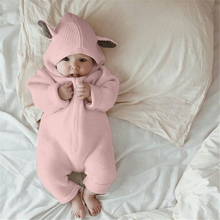 Fashion Cute Bunny Ear Baby Romper Knitted Hooded Baby Romper фото