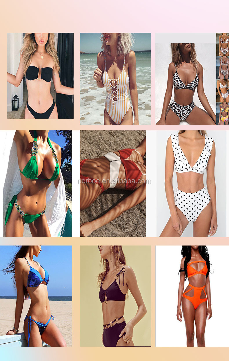 2019 Fashion Swimwear Solid Hanging Lace Sexy Bikini Two Piece Women Bathing Suits
