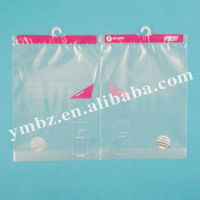 Printed plastic garment hanger bags for packing clothes with punching and bottom gusset