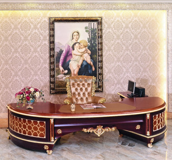 Luxury French Baroque Style Home Office Furniture/Luxury Antique Study Room  Wooden Hand Carve Executive