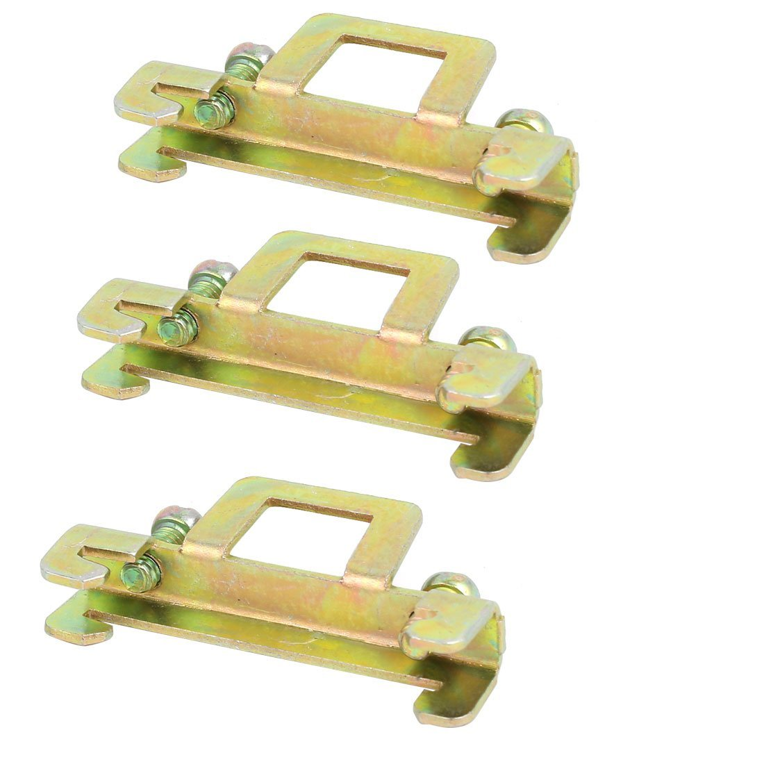 uxcell 3 Pcs 35mm Width BNL6-2 DIN Guide Rail Buckle Fixed Clamp Bronze Tone 44x8x20mm