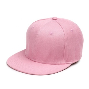 Oem acrylic 6 panel hip hop dance custom made pink plain blank snap back caps