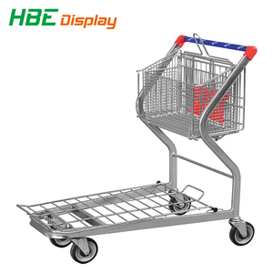 Warehouse Steel Hand Push Platform Cart 4 Wheels Folding Hand Trolley