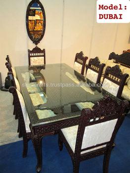 Indian Teak Wood Hand Carved Dining Room Set Restaurant Furniture