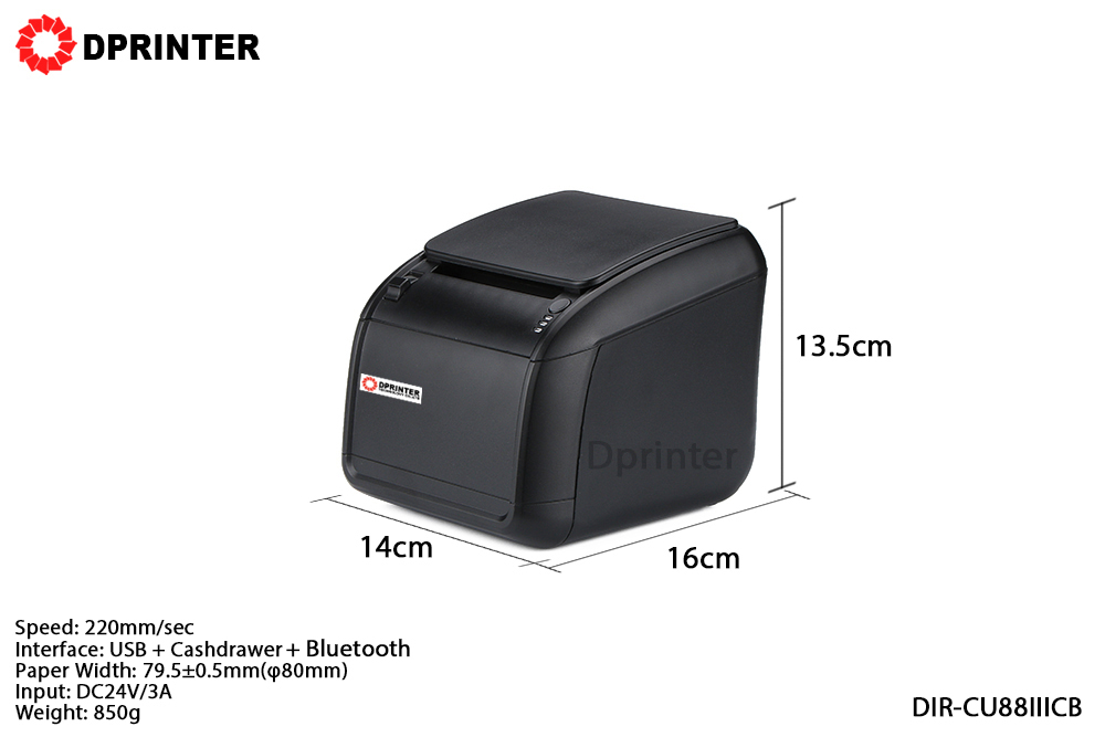 Dprinter Wireless 80mm Bluetooth Thermal Receipt Printer POS Printer with Auto Cutter