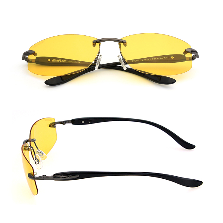 94d89d2cec Wholesale Yellow Lens Rimless Metal Anti Glare Night Driving Glasses With  TR90 Temples