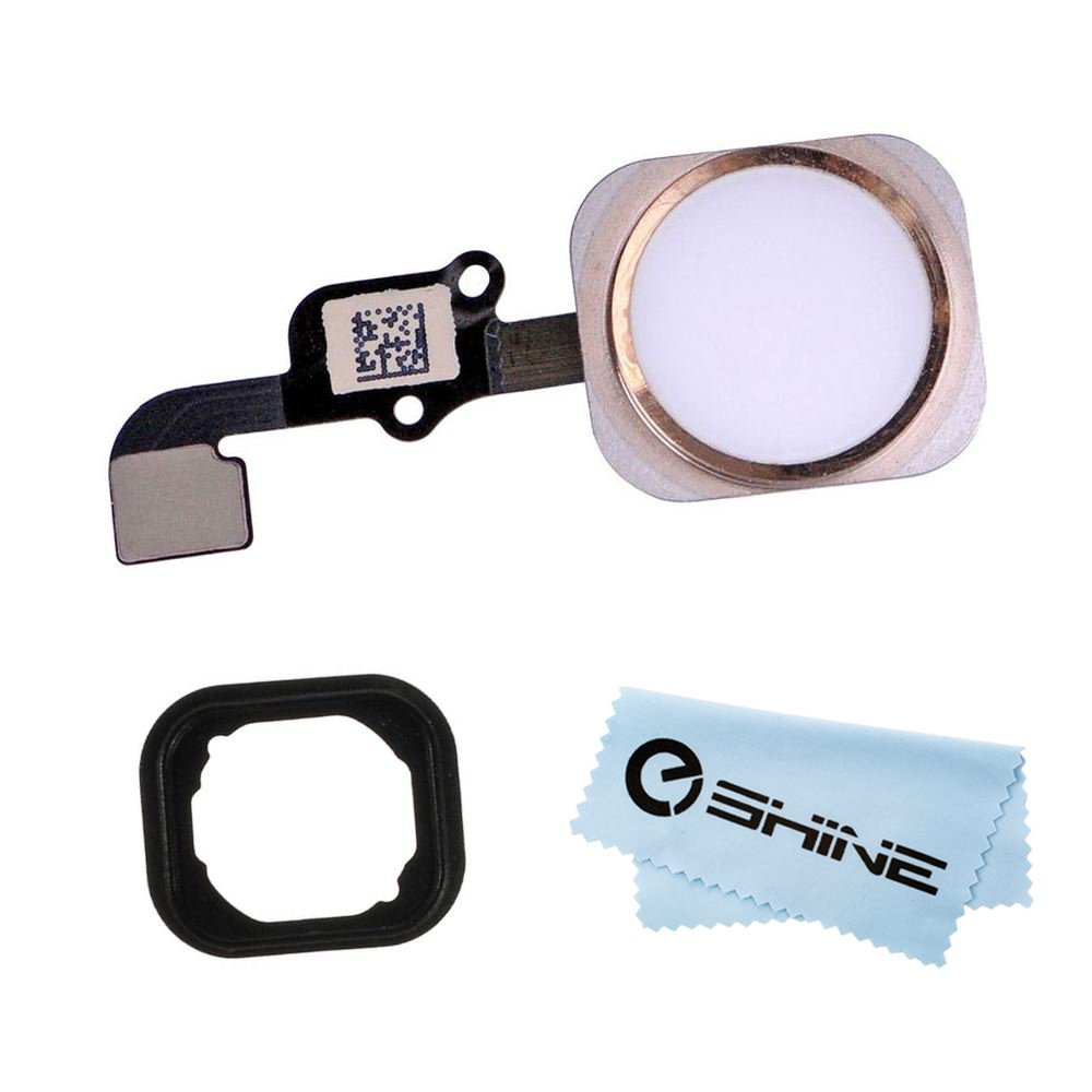 EShine® Home Button Flex Ribbon Cable Assembly for iPhone 6S 4.7 and iPhone 6S Plus 5.5 + Rubber Gasket + EShine Cloth (Gold)