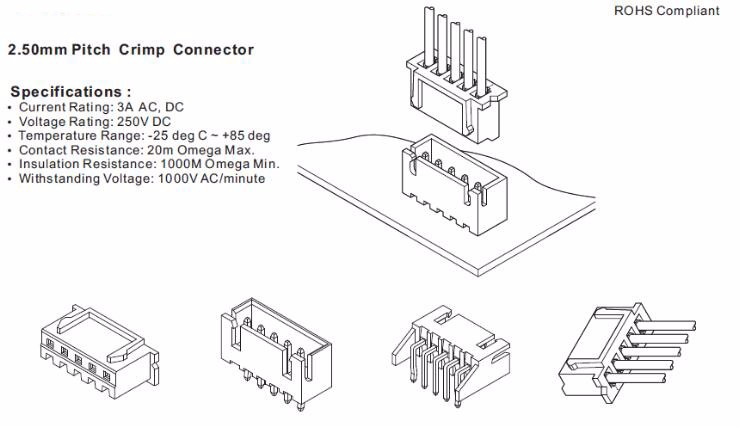 2 54mm Pitch Wafer Connector 2 16pin Jst Xh Terminal